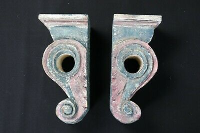 VTG Shabby Chic Wooden Curtain Pole Holders Rod Brackets Architectural Elements