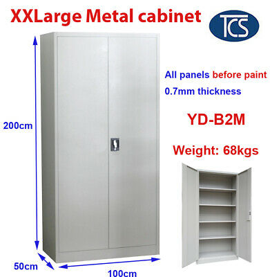 NEW Assembled XXLARGE 2m Metal Steel Filing Stationary Storage Cabinet Cupboard