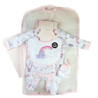 Baby Girls Set Beautiful Rainbow Unicorn Design Gift Bag & Cotton Layette Outfit