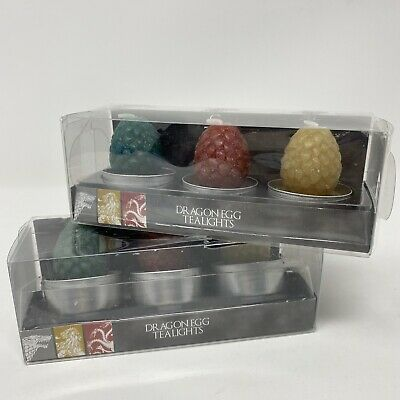 2 Sets HBO Game of Thrones Set of 3 Dragon Egg Tealights Candles