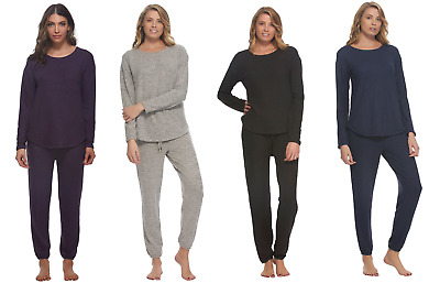 Felina Womens Comfyz Lounge Set Brushed Jersey Top and Jogger NEW