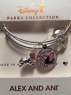 Disney Parks Alex & and Ani Dumbo Don't Just Fly Soar Silver Bracelets Set