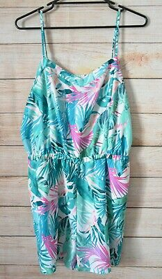 Jeans West Playsuit Size 14 Pink Green White Floral Sleeveless Short