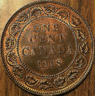 1918 CANADA LARGE CENT LARGE 1 CENT PENNY COIN - Red/brown Uncirculated