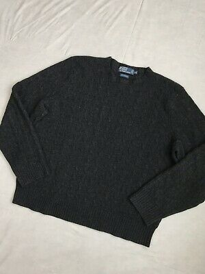 EUC Polo By Ralph Lauren Mens 100% Cashmere Charcoal Cable Knit Sweater Sz XXL