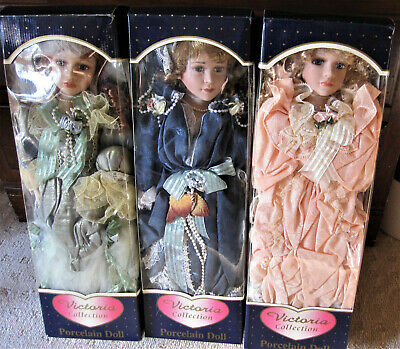 3 X Victoria Collection Porcelain Dolls NRFB BNB