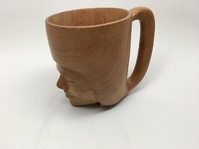 Vintage Hand Carved Teak Wood Face Mug/Cup - EXCELLENT!