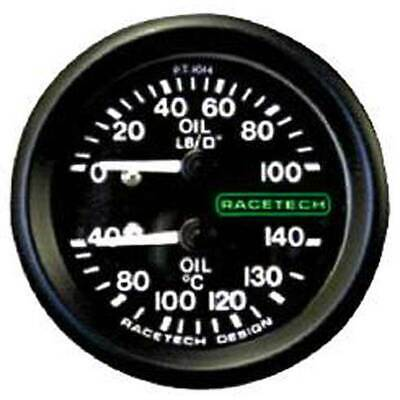 "Racetech Oil Pressure/Oil Temp Gauge Backlit 1/8"" BSP Nipple Fitting & 9ft Pipe"