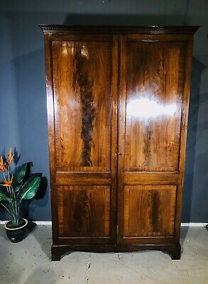 Edwardian Mahogany Double Wardrobe