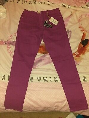 BNWT Girls Next Magenta Rip Knee Skinny Jeans Age 16 Years New