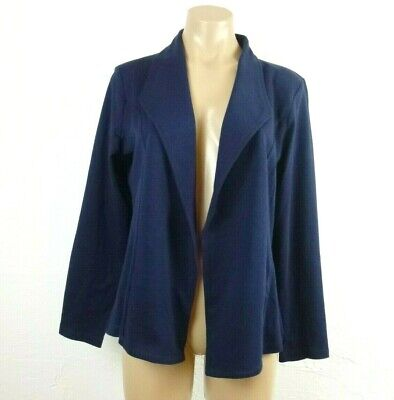 Style&Co Womens Blazer Jacket PXL Industrial Blue Stretch Knit Open Front