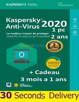 Kaspersky Anti-Virus 2020 Full Version 100% 1 PC 2 Years + UP to 3 months GIFT
