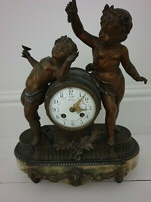 A Fine Bronze Cherubs And Siena Marble Mantle Clock 1890 C.