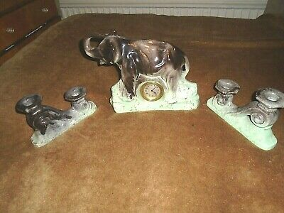 French Art-Deco Style,Pottery Clock Garniture-Elephant--Candlesticks