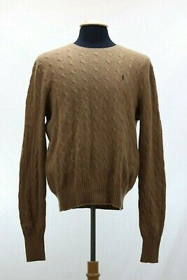Polo Ralph Lauren Men's Large lambswool crew neck brown Sweater Cable knit logo