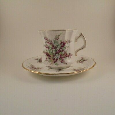 Hammersley Flat Cup & Saucer Purple & White Flowers & Fern Leaves Embossed