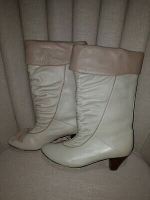OFFICE beige soft leather low heeled boots UK size 6 EUR 39  never worn BNWOT