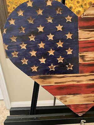 Rustic Wooden Heart American Flag, Torched with carved union, Hanging Wall Art V