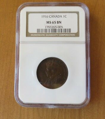 1916 Canada Large 1 Cent NGC MS65 BN