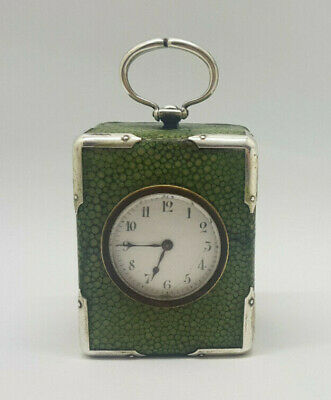 Antique Miniature Solid Silver Shagreen Carriage Clock