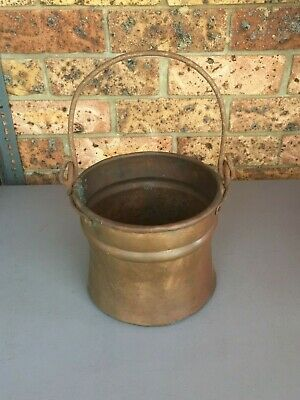 Antique Vintage Hand Hammered COPPER BUCKET with Hand Forged Wrought Iron Handle