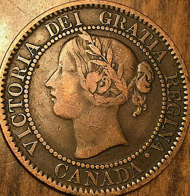 1859 CANADA LARGE CENT LARGE 1 CENT PENNY COIN - Good example!