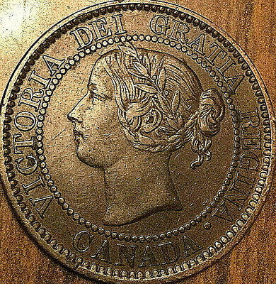 1859 CANADA LARGE CENT LARGE 1 CENT PENNY COIN - Excellent example - Scratched
