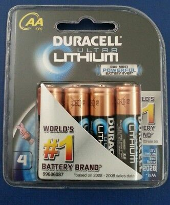 Duracell Ultra Lithium AA Batteries 4 Pack 1.5v with 2028 Best Before & Sealed.