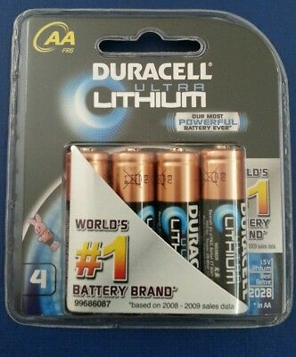 Duracell Ultra Lithium AA Batteries 4 Pack 1.5v with 2028 Best Before. Sealed