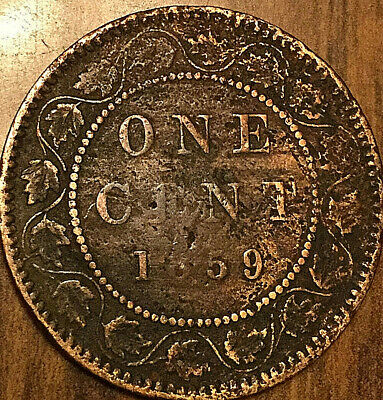 1859 CANADA LARGE CENT LARGE 1 CENT PENNY COIN - Damaged