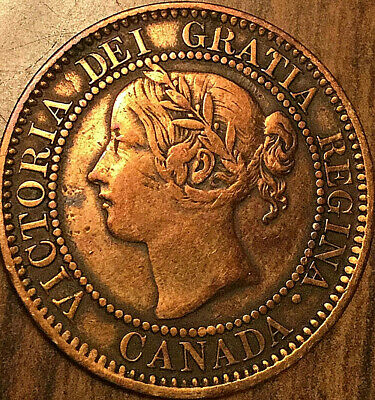 1859 CANADA LARGE CENT LARGE 1 CENT PENNY COIN - Polished