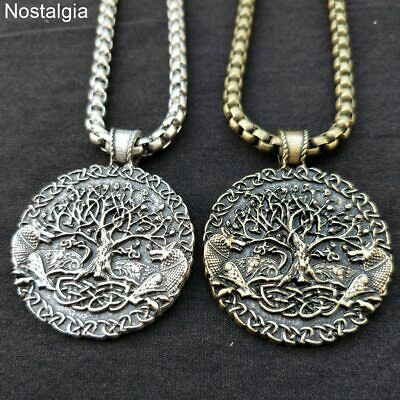 Mens Norse Viking Amulet Fenrir Wolf Celtic Tree of Life Pendant Necklace