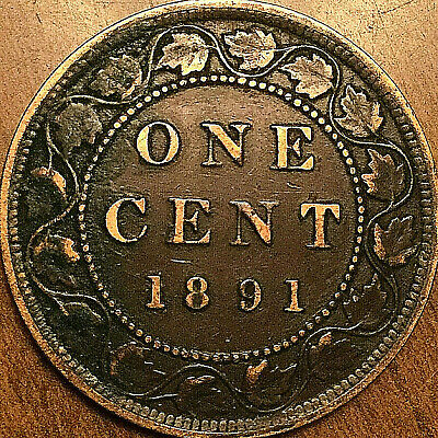 1891 CANADA LARGE CENT PENNY LARGE 1 CENT COIN - SDLL Obverse #2 -Nicer example!