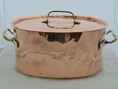 Large Antique 1800S Hammered Dovetail Copper Oval Casserole Stew Pan Cocotte