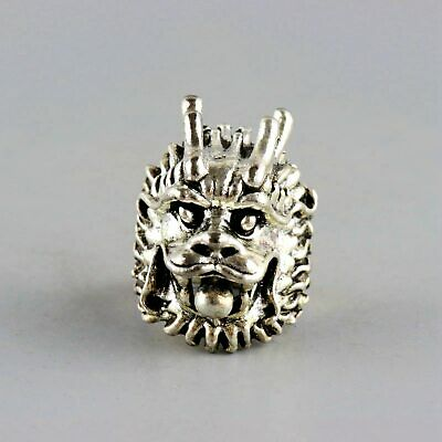 Collect Old Miao Silver Hand-Carved Myth Dragon Moral Exorcism Bring Luck Ring