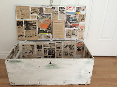 Vintage Trunk Lined 1950s Magazine & Newspaper Shabby Chic Coffee Table Storage