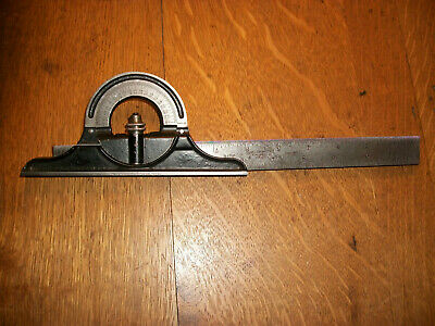 "Vintage Starrett No.490 Protractor Head On A Starrett 12"" No.4Grad. Rule"