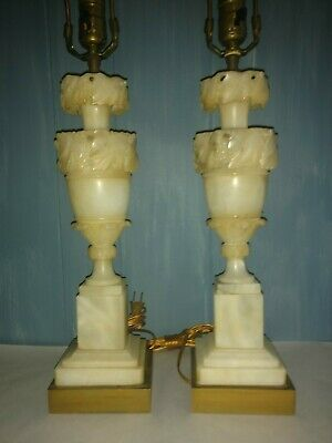 Pair set Vintage Neoclassical Italian Alabaster Hand Carved Marble Table Lamps