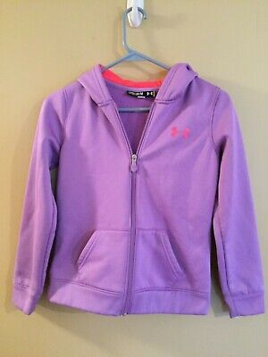 Lovely Youth Girls Under Armour Purple Zip Up Hooded Jacket Size Medium