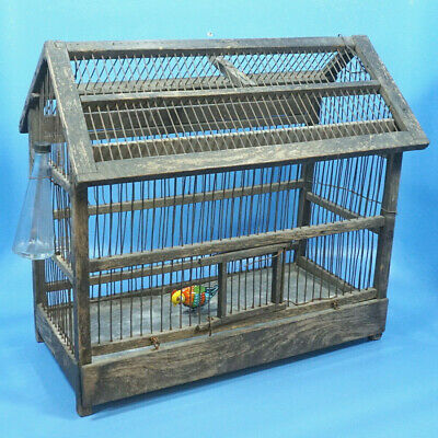 Antique German Green Wood & Metal BIRD CAGE Glass Feeder Tin Toy Bird