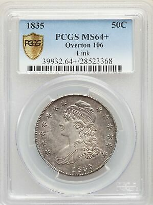 1835 US Silver 50C Capped Bust Half Dollar - O-106 - PCGS MS64+