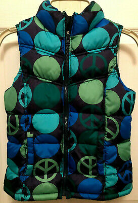 Old Navy Girls Size Large Quilted Puffer Vest Green Blue and Black Front Zip
