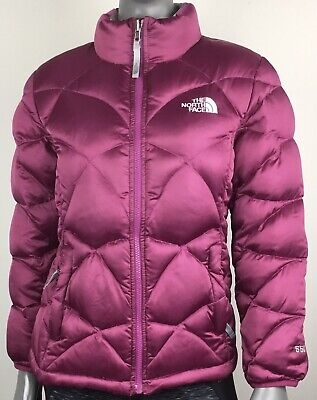 North Face 550 Goose Down Puffer Jacket Girls L 14/16 Satin Magenta Coat