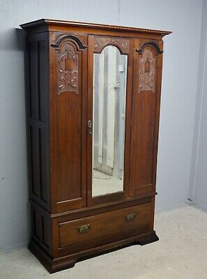 Antique Wardrobe And Drawer Mahogany Full Length Door Mirror Delivery Available