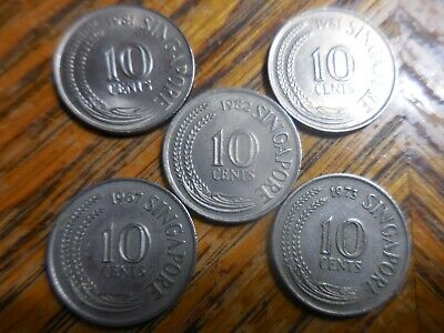 Choose One From the Five 10 cent Singapore coins Displayed Here.(seller's # 157)
