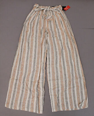 Forever 21 Women's Striped Belted Long Woven Paperbag Pants BF5 Cream Small NWT
