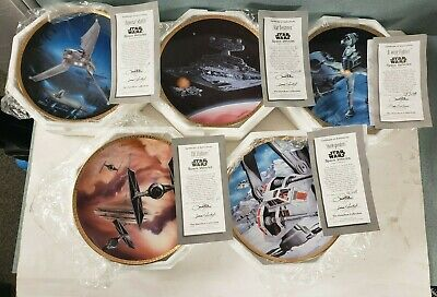 1995 Star Wars Plate Collection SPACE VEHICLES Lot Of 5 Displayed