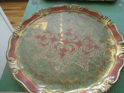 Vintage Florentine Red, Gold & Green round tray. Made in Italy.