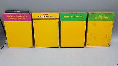 Lot of 4 Vintage Kodak Film Packs for Display - Tri-X Pan Verichrome PLUS-X Pro