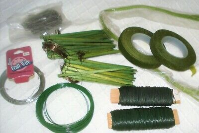 LOT of Floral Wire, Green Tape,  Wood Picks with Wire, Pins & Stem Wire